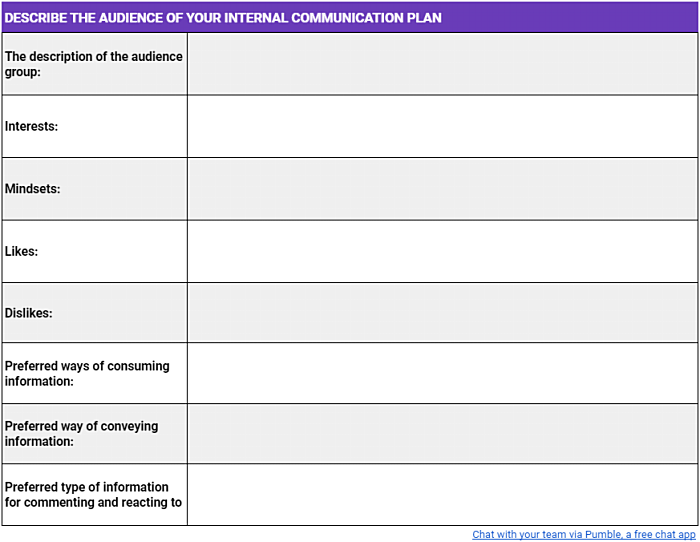 A template for describing the audience of your internal communication plan