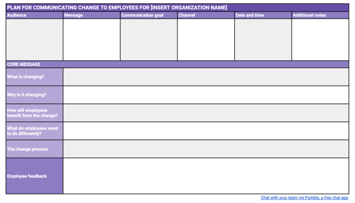 Communicating change to employees template
