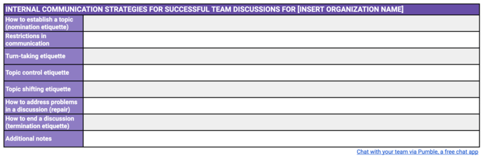 Internal communication strategies for successful team discussions template